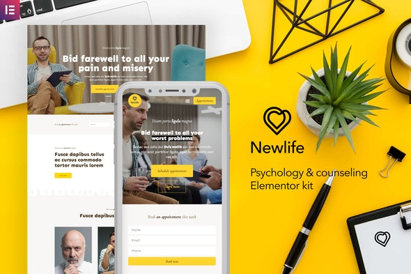 Newlife – Psychology & Counseling Elementor Template Kit - Business & Services Elementor