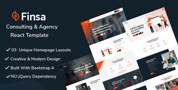 Finsa - React Consultancy & Business Template - Business Corporate