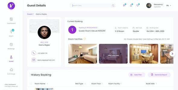 Villar - Hotel Booking Admin Dashboard UI PSD Template