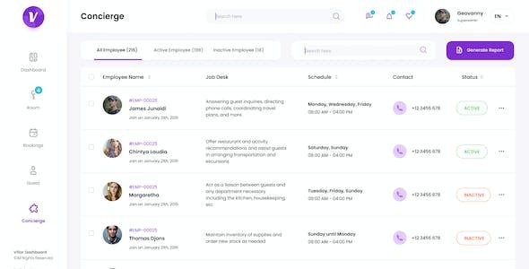 Villar - Hotel Booking Admin Dashboard UI Figma Template