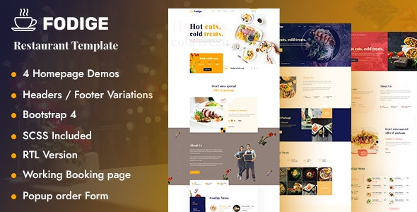 Fodige  - Restaurant Cafe HTML Template - Restaurants & Cafes Entertainment