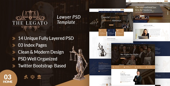 Legato Lawyer PSD Template - Business Corporate