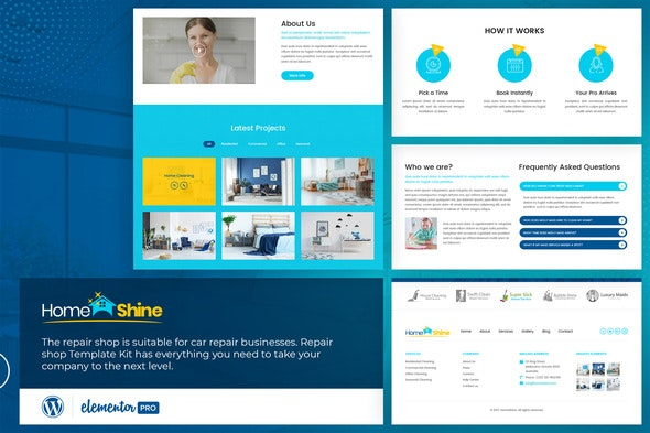 HomeShine - Cleaning & Laundry  Elementor Template Kit - Business & Services Elementor