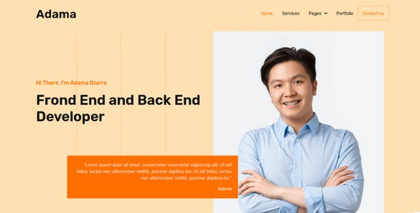 Adama - Personal Portfolio & Resume Elementor Template Kit