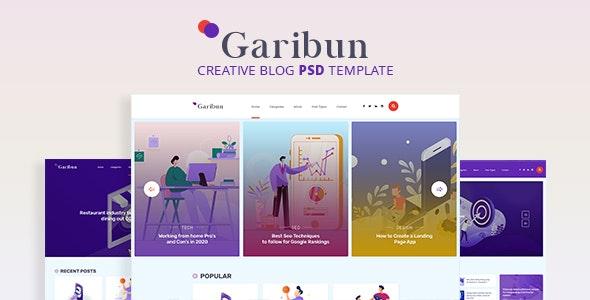 Garibun - Creative Blog PSD Template - Personal Photoshop