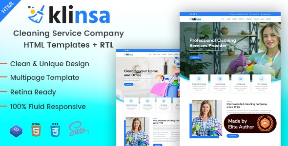 Klinsa - Cleaning Services Company HTML Template - Business Corporate