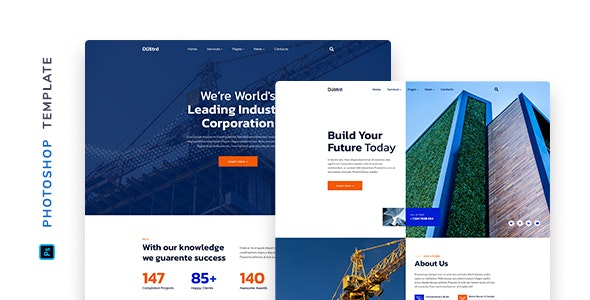 Dustro – Construction Company Template for Photoshop - Business Corporate