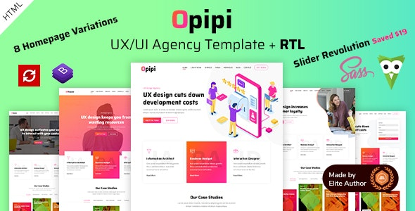 Opipi - UX/UI Agency Portfolio HTML Template - Creative Site Templates