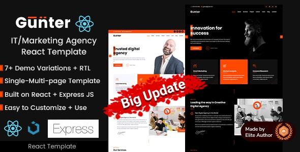 Gunter React - IT and Marketing Agency Portfolio Templates - Marketing Corporate