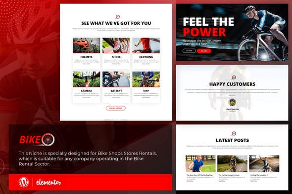 Bikeo - Cycling Template Kit - Sport & Fitness Elementor