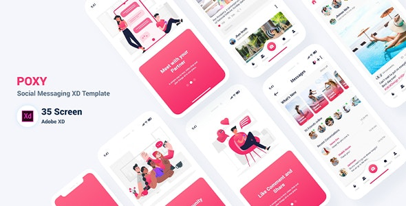 Poxy - Social Messaging XD Template - Adobe XD UI Templates