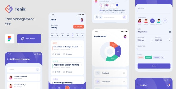 Tonik - Task Management Figma App Template - Figma UI Templates
