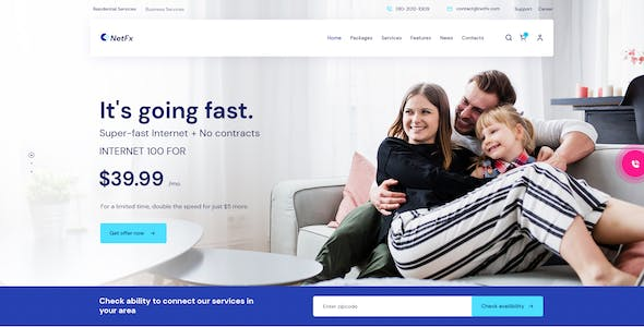NetFx - Broadband and Internet Services PSD Template