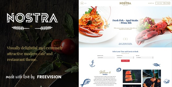 Nostra - An Elegant Cafe & Restaurant WordPress Theme - Restaurants & Cafes Entertainment