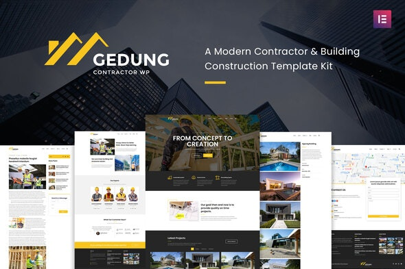 Gedung- Contractor & Building Construction Elementor Template Kit - Real Estate & Construction Elementor