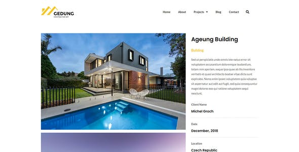Gedung- Contractor & Building Construction Elementor Template Kit