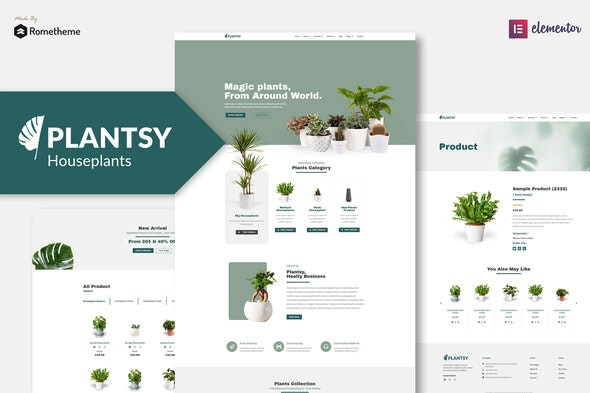 Plantsy - Houseplants Elementor Template Kit - Business & Services Elementor