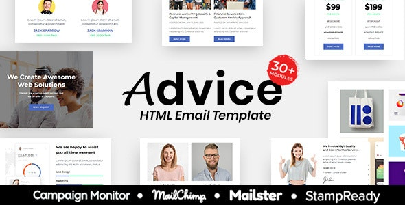 Advice - Multipurpose Responsive Email Template 30+ Modules Mailchimp - Newsletters Email Templates