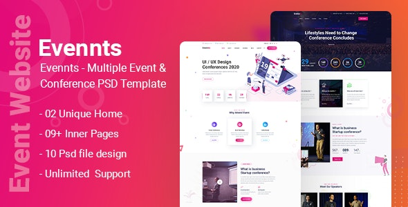 Evennts-Conference and Event PSD Template - UI Templates