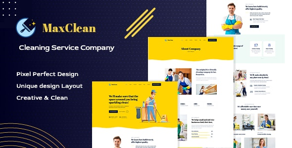 MaxClean - Cleaning PSD Template - Business Corporate