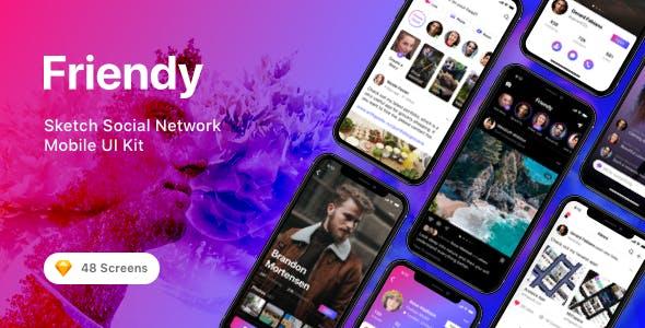 Friendy - Sketch Social Network Mobile UI Kit