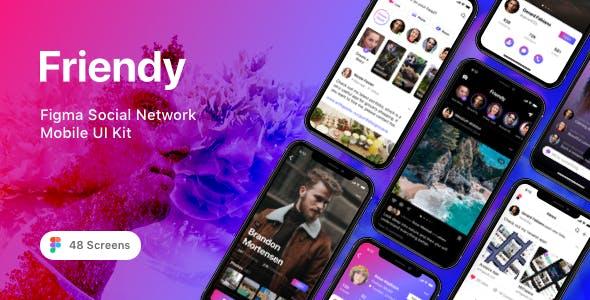 Friendy - Figma Social Network Mobile UI Kit