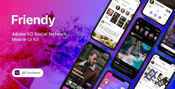 Friendy - Adobe XD Social Network Mobile UI Kit - Miscellaneous Adobe XD