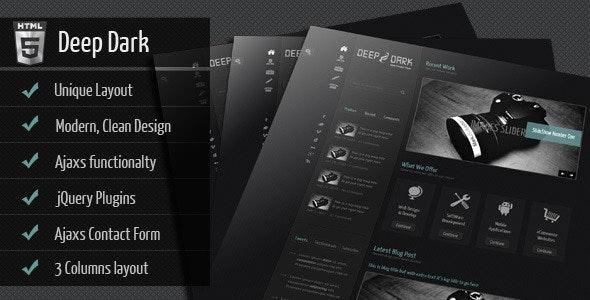 Deep Dark : Three Columns Base - Creative Site Templates