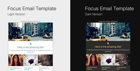 Focus Email Template (& Campaign Monitor versions) - Email Templates Marketing