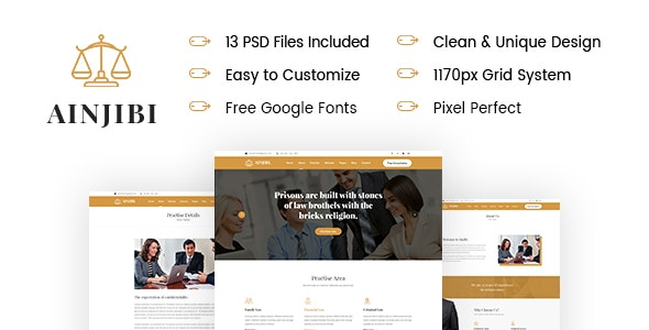 Ainjibi – Attorney and Lawyer PSD Template - Business Corporate