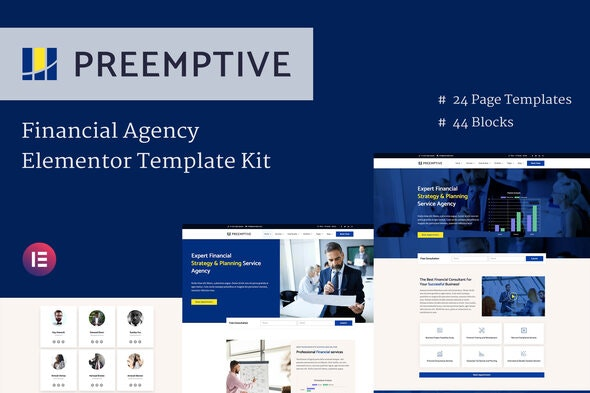 Preemptive - Business & Finance Elementor Template Kit - Finance & Law Elementor