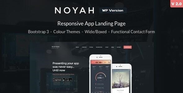 Noyah - App Landing WordPress Theme - Marketing Corporate