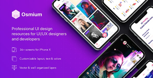 Osmium UI Kit for Adobe XD - Adobe XD UI Templates