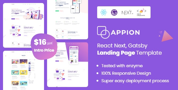 Appion - React Next Gatsby Landing Page Template - Technology Site Templates