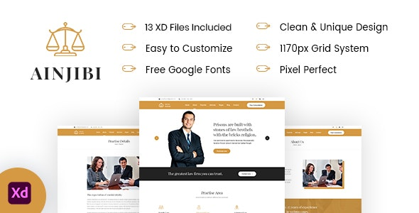 Ainjibi – Attorney and Lawyer XD Template - Business Corporate