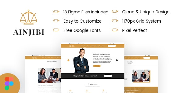 Ainjibi – Attorney and Lawyer Figma Template - Business Corporate