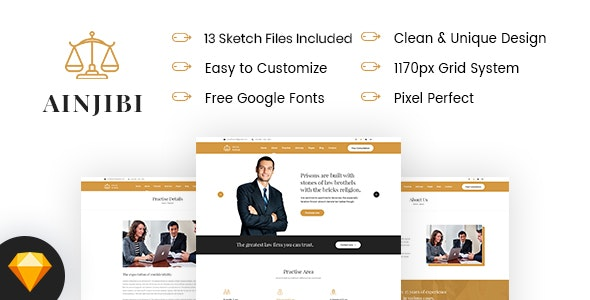 Ainjibi – Attorney and Lawyer Sketch Template - Business Corporate