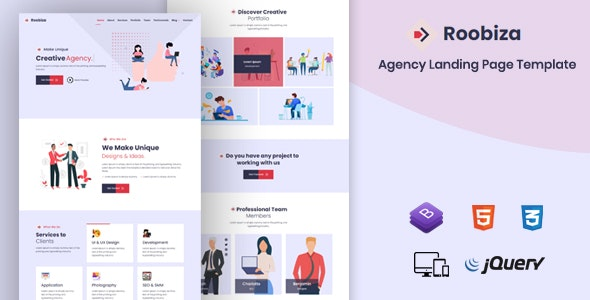 Roobiza - Agency Landing Page Template - Business Corporate
