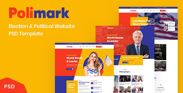Polimark - Election and Political Website PSD Template - Corporate Photoshop