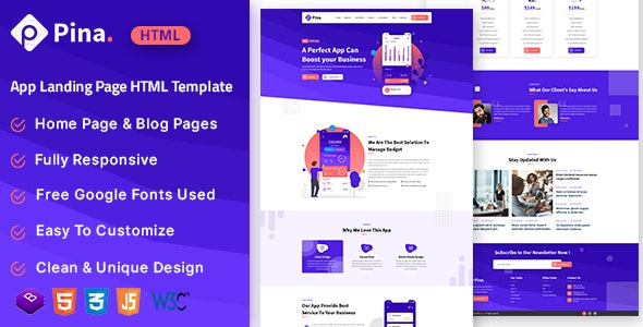 Pina - App Landing Page HTML Template - Corporate Site Templates