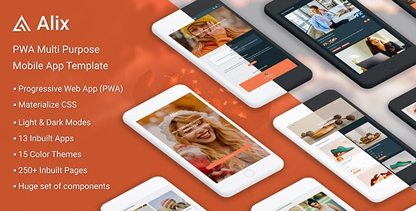 Alix: Multi Purpose PWA Mobile App Template - Mobile Site Templates