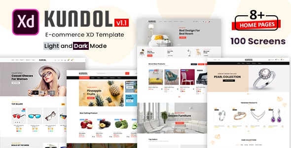 Kundol - Multipurpose Shopping XD Template - Retail Adobe XD
