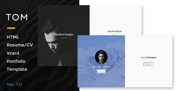 Tom-Resume, Portfolio, Vcard Template