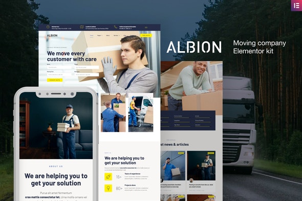 Albion – Moving Company Elementor Template Kit - Business & Services Elementor