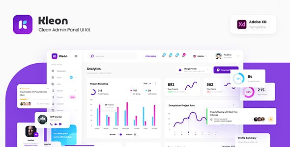 Kleon - Clean Admin Panel Dashboard UI Template Adobe XD