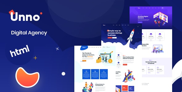 Unno - Startup Agency & Business HTML Template - Corporate Site Templates