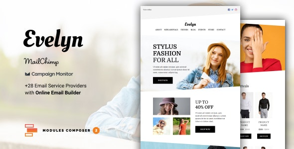 Evelyn - E-commerce Responsive Email for Fashion & Accessories with Online Builder - Newsletters Email Templates