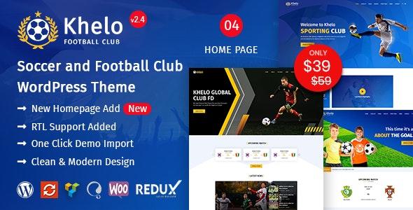 Khelo - Soccer WordPress Theme - Entertainment WordPress