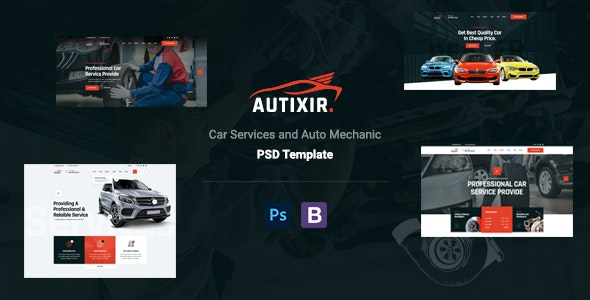 Autixir - Car Repair Services & Auto Mechanic PSD Template. - Business Corporate