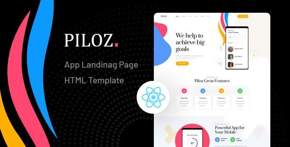 Piloz - React Next App Landing Page Template - Technology Site Templates